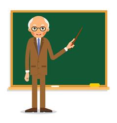 elderly professor stands in front of blackboard vector image vector image