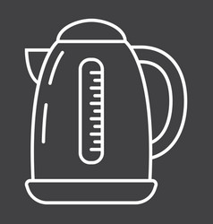 Electric kettle line icon kitchen and appliance vector