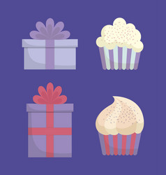 gift box and cupcakes design vector image vector image