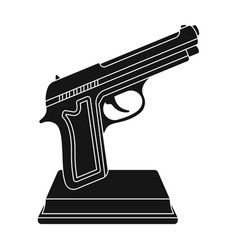 golden gun on a standaward for best crime film vector image