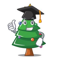 graduation christmas tree character cartoon vector image