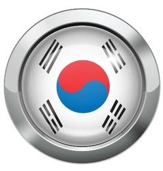 Korean flag metal button vector image vector image