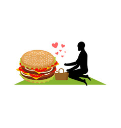 Lover fast food man and hamburger on picnic guy vector
