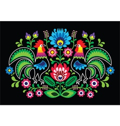 Polish floral embroidery with cocks - traditional vector image