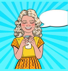 Pop art happy girl drinking milk vector