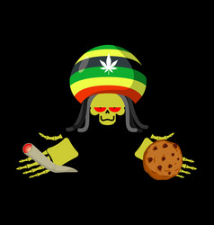 Rasta death offers cookies and joint or spliff vector