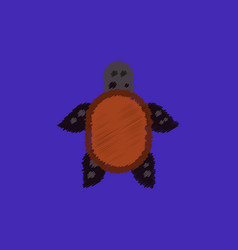 Sea turtle icon in hatching style vector