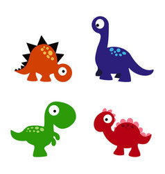 set cartoon dinosaurs vector image