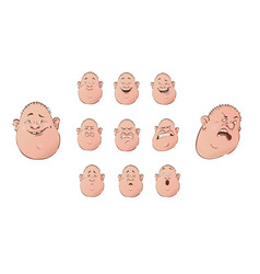 set of male emoji characters flat cartoon style vector image vector image