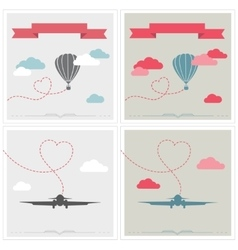 Set of retro cards with aerostat and plane flying vector image vector image