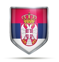 Shield with flag serbia vector