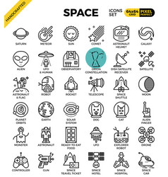 space and galaxy icons vector image