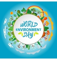 World environment day concept Green Eco Earth vector image