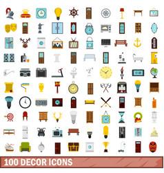 100 decor icons set flat style vector