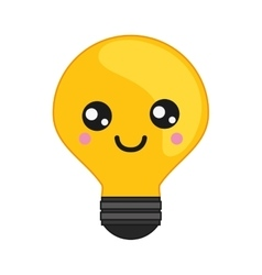 Kawaii lightbulb icon vector