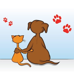 Cat dog friends vector