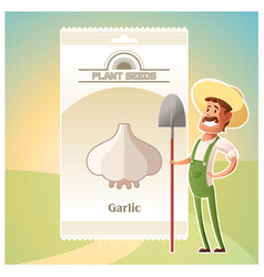 Pack of garlic seeds icon vector