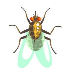fly insect colorful cartoon character vector image