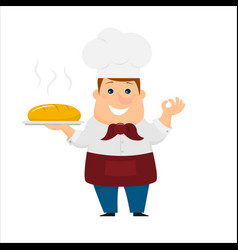 baker with bread vector image