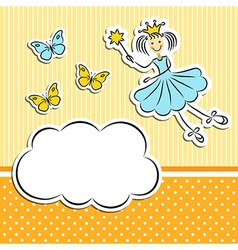 Fairy princess with paper cloud and butterflies vector