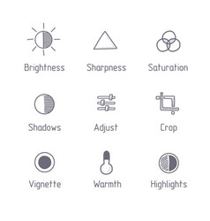 Picture editing icon set hand drawn art vector