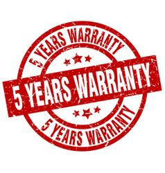 5 years warranty round red grunge stamp vector
