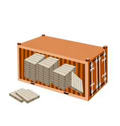 A stack of wood pallets in cargo container vector