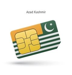 Azad kashmir mobile phone sim card with flag vector