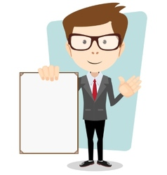 A cartoon businessman holding blank message board vector