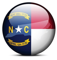 Map on flag button of usa north carolina state vector