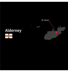 Detailed map of alderney and capital city st anne vector