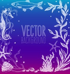 Background with sea life scene vector