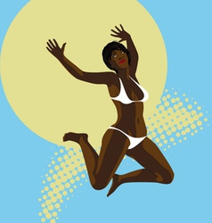 Summer jumping girl vector