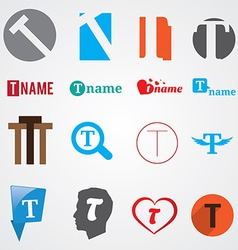 Set of alphabet symbols of letter t vector