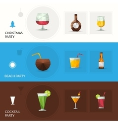 Drinks polygonal banners vector