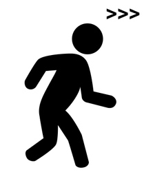Run man with speed symbol flat icon pictogram vector