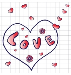 Hand drawn word love vector