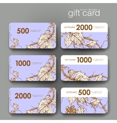 Gift coupon discount card template with grapes vector