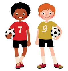 Two children boys football players vector