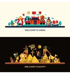 Flat design egypt china travel banners set vector
