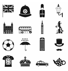 Great britain icons set simple style vector