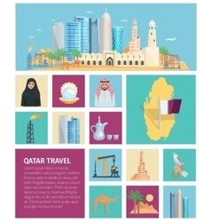Qatar culture flat icon set vector