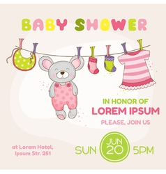 Baby mouse shower card - with place for your text vector