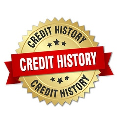Credit history 3d gold badge with red ribbon vector