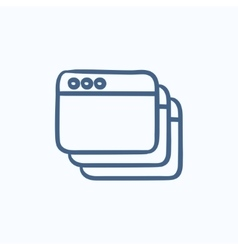 Opened browser windows sketch icon vector