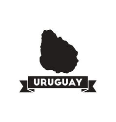 Flat icon in black and white map of Uruguay vector image