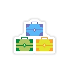 paper sticker on white background treasure chests vector image