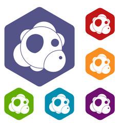 atom icons set hexagon vector image vector image