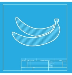 Banana simple sign white section of icon on vector