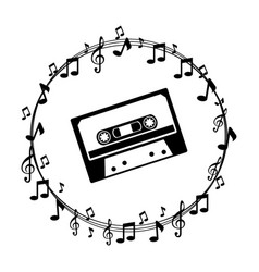 border musical notes with cassette tape vector image vector image